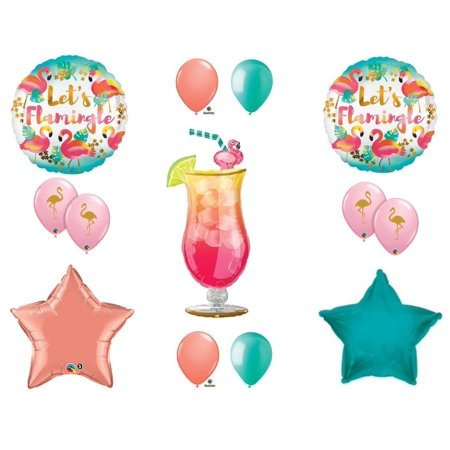 Let's Flamingle Flamingo Tropical Drink Luau Party Balloons Decoration Supplies