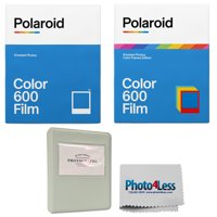 "Polaroid Color Film for 600 Color Frame + Polaroid Color Film for 600 + Phobea Leather 5"" Photo Album + Cleaning Cloth"