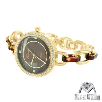 Womens Gold Tone Watch Tortoise Dial 2 Tone Link Bracelet Lab Diamonds Classy