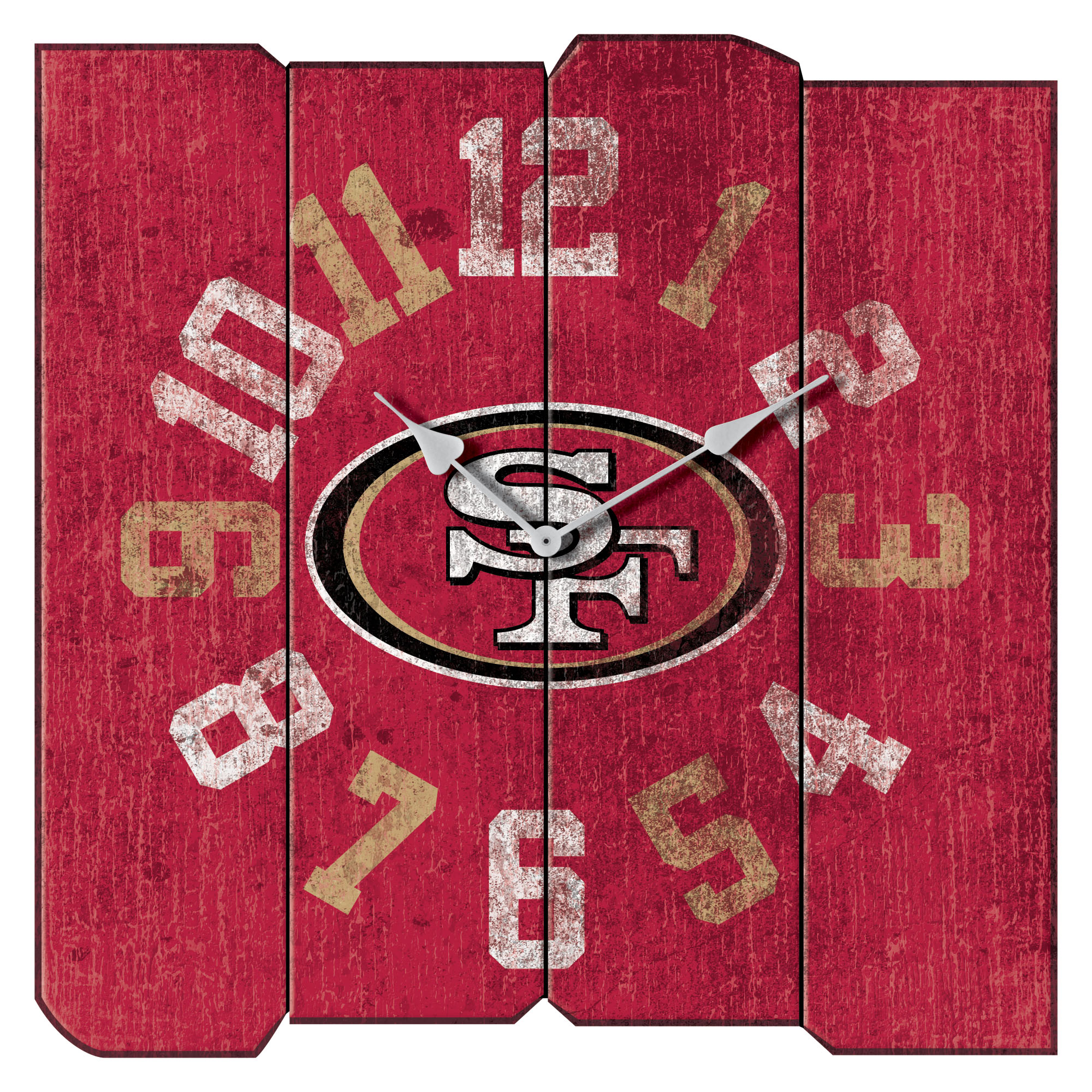 "San Francisco 49ers 16"" Vintage Sqaure Wall Clock - Scarlet - No Size"