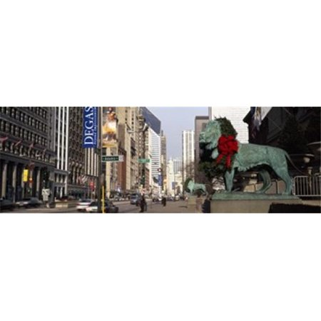 Bronze lion statue in front of a museum  Art Institute Of Chicago  Chicago  Cook County  Illinois  USA Poster Print by  - 36 x 12 ()