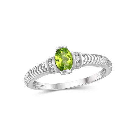 JewelersClub 0.48 Carat T.G.W. Peridot Gemstone and White Diamond Accent