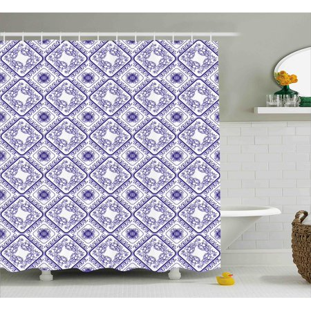 Decorative Shower Curtain Arts And Craft Theme Flower Pattern On Porcelain Decorations For Home