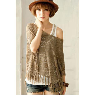 Women Cover Up Crochet Lace Shirt and Blouse Khaki