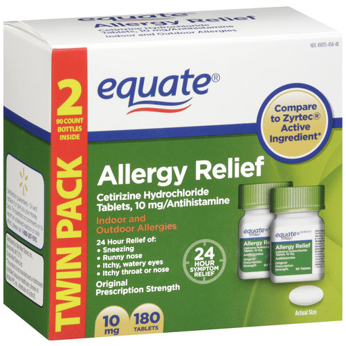 Equate Cetirizine Hydrochloride Antihistamine Allergy Relief 10mg, 180ct