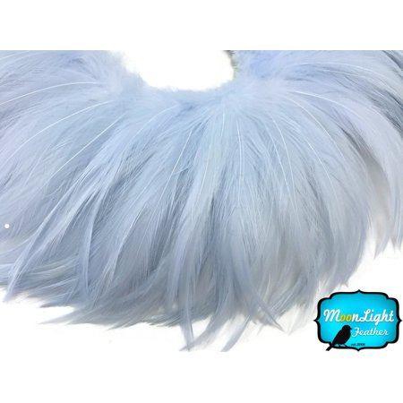 Supply Feather Light 4 Wheel (4 Inch Strip - Light Blue Strung Rooster Neck Hackle Feathers)