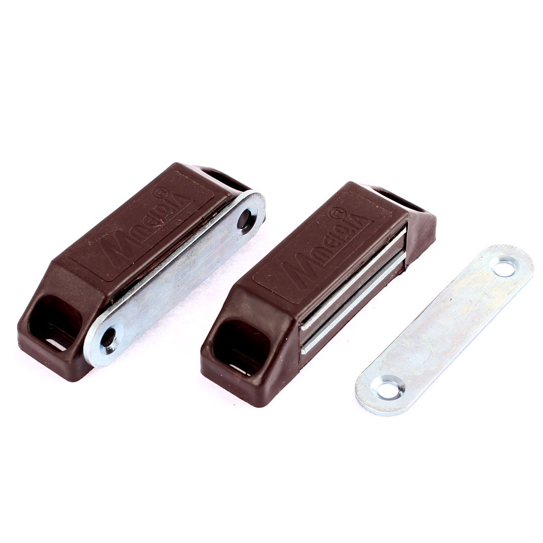 2pcs Cupboard Cabinet Furniture Magnetic Catch Door Latch 60mm x 18mm Dark Brown