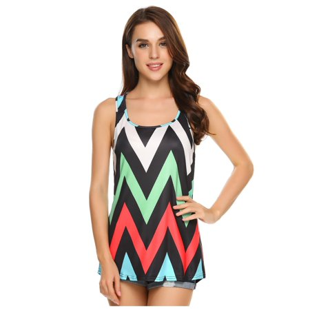 Women Sleeveless O Neck Print Loose High Low Hem Fashion Tank Top BETT