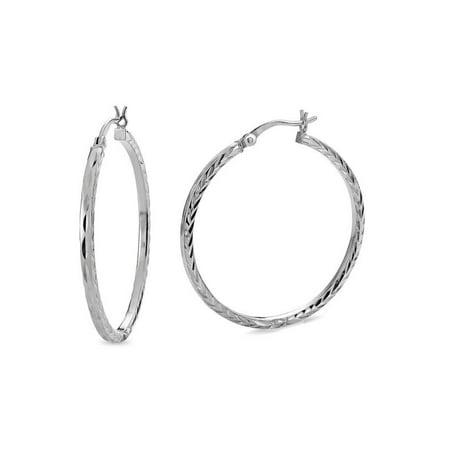 Sterling Silver Diamond Cut Square Tubing Hoop Earrings
