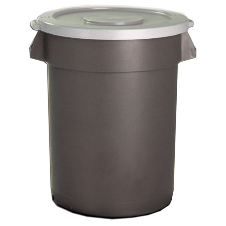 Continental Snap-On Waste Container Lid for Huskee 32 gal Container, 22 in Dia, (Waste Container Gray Lid)