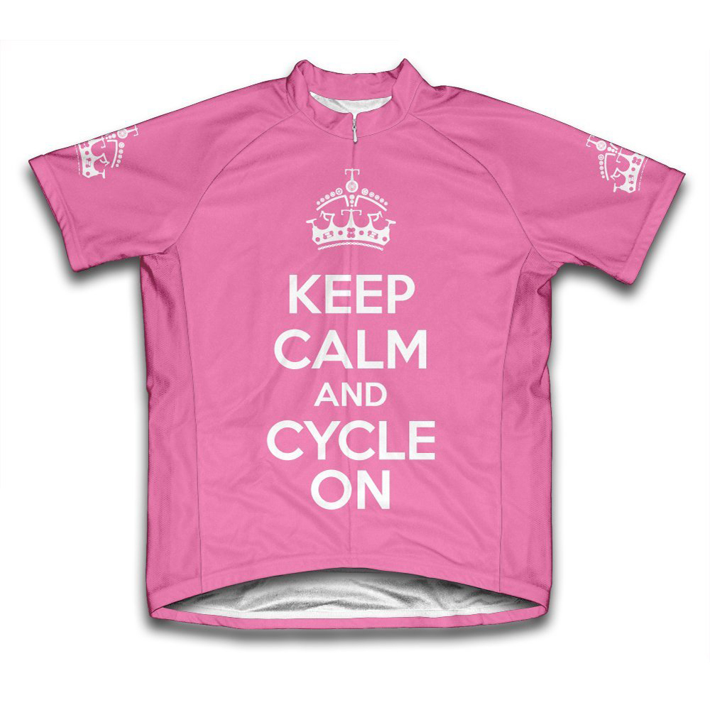Keep Calm and Cycle On Microfiber Short-Sleeved Cycling Jersey