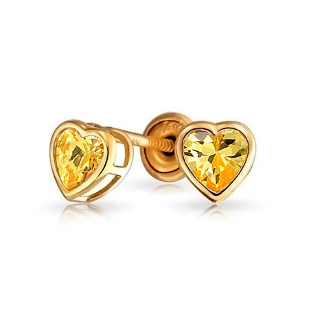 Tiny Heart Bezel Set Stud Earrings Kids Light Color Cubic Zirconia Simulated Stones CZ 14K Gold Baby Safety Screwback