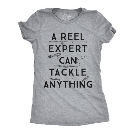 Womens A Reel Expert Can Tackle Anything Tshirt Funny Fishing - Reel Top