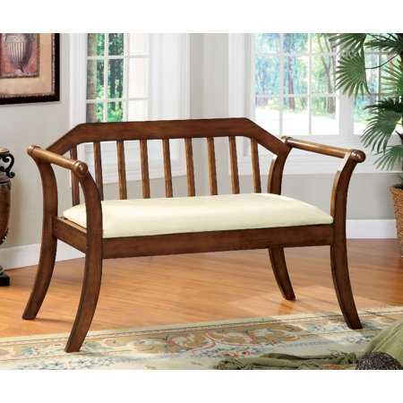 Simple Relax Derby Collection Modern Accent Bench Dark Oak With Ivory Padded Upholstrey Seat ()