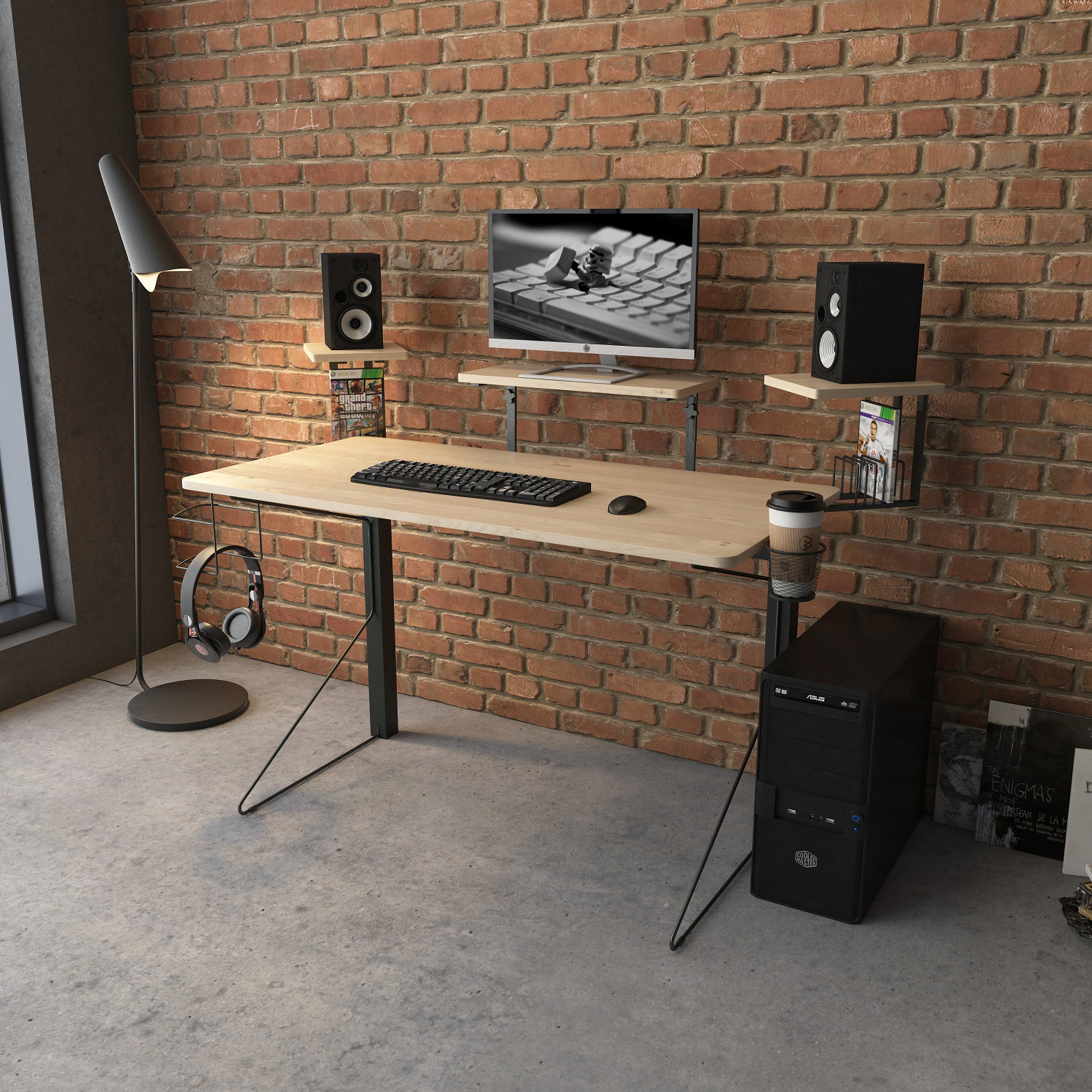 Carnegie Computer Gaming Desk, Black/Natural