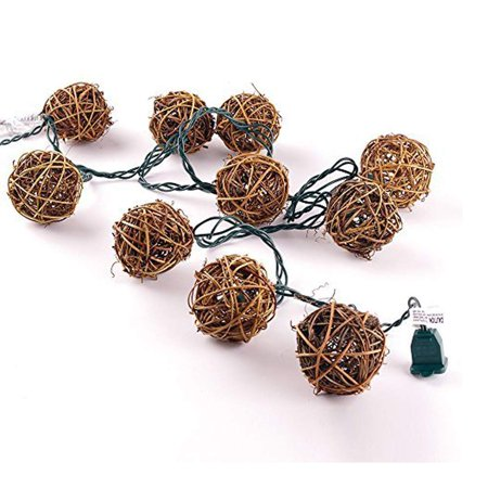 10 Counts Natural Rattan Balls String Light. Warm White Light for Patio, Wedding, Garden and Party Brown Rattan and Green Cord ()