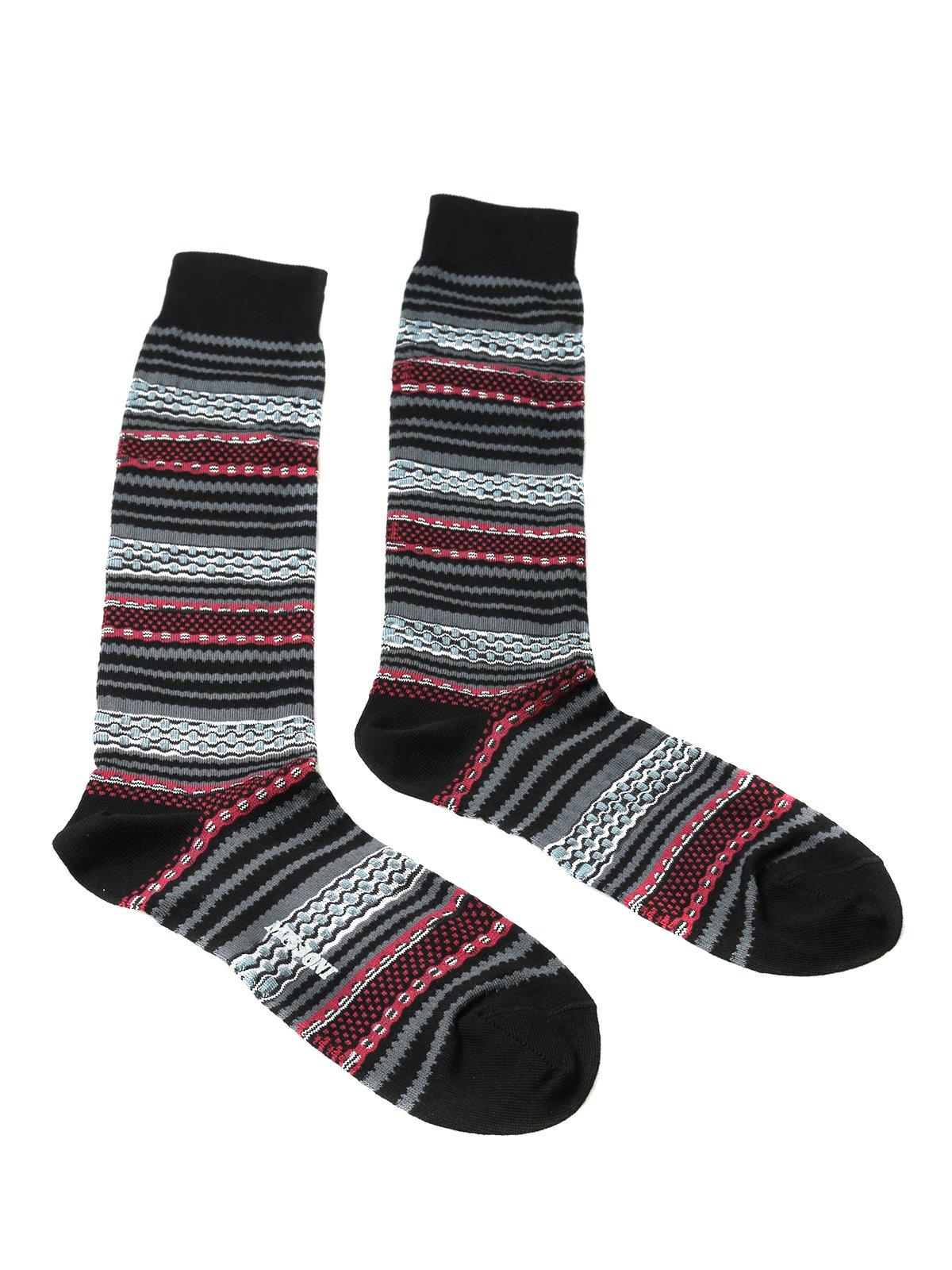 Missoni GM00CMU5696 0001 Gray/Black Mixed Stripe Calf Length Socks