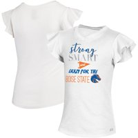 Girls Youth Russell Athletic White Boise State Broncos Ruffle Sleeve V-Neck T-Shirt