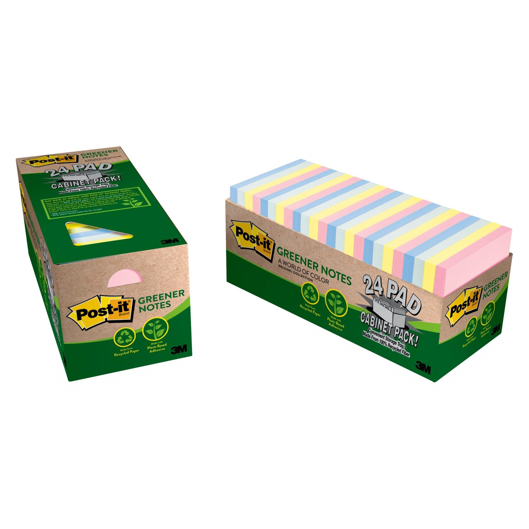 Post-it Greener Sticky Notes Cabinet Pack, 3in. x 3in., Helsinki Collection, 24 Pads