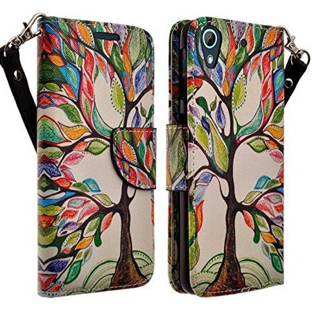 Apple iPod Touch 6th, 5th Generation Case - Wydan Wallet Leather Credit Card Flip Book Style Folio Kicktand Feature Cover w/ Wrist Strap Artsy Tree (Apple Ipod Strap)