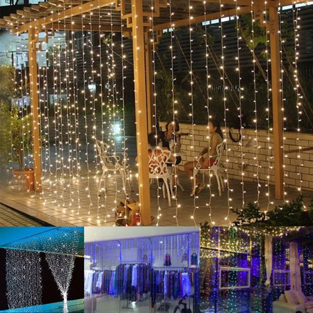 Curtain Icicle Lights, 300 LED, 9.8ft x 9.8ft, 8 Modes Fairy String Lights, for Wedding Christmas Holiday Party Home Garden (Energy Best Christmas Lights)
