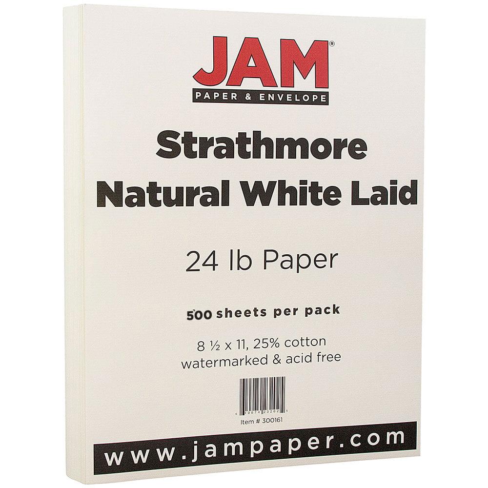 JAM Paper Strathmore Paper, 8.5 x 11, 24 lb Strathmore Natural White Laid, 500 Sheets/Ream