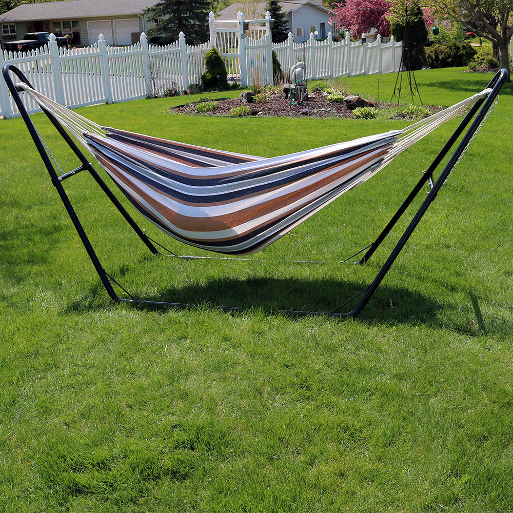 Sunnydaze Extra Large Brazilian Double Hammock with Universal Multi-Use Stand, Jumbo 2 Person Hammock Bed with Carry Bag, Max Weight: 440 Pounds, Calming Desert