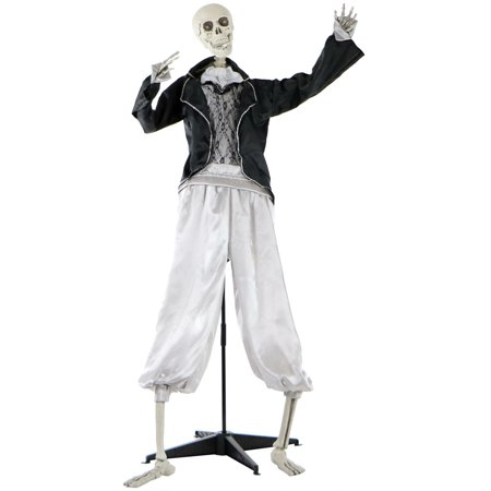 Flash Cracker Halloween (Haunted Hill Farm Life-Size Animated Talking Skeleton Groom Prop w/ Flashing Eyes for Indoor or Outdoor Halloween Decoration,)