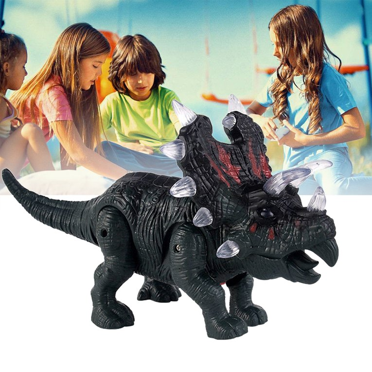 Electronic Dinosaur Triceratops Toy Light+Sound+Walking Imitated Dinosaur multicolor