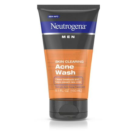 (2 pack) Neutrogena Men Skin Clearing Salicylic Acid Acne Face Wash, 5.1 fl.