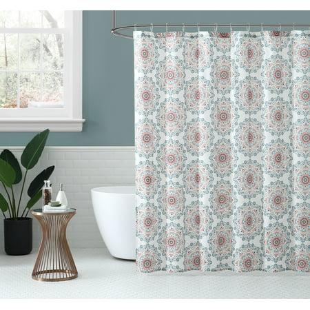 Peach & Oak, Fabric Shower Curtain - Tribal Medallion - 80% Polyester / 20% Cotton - 72