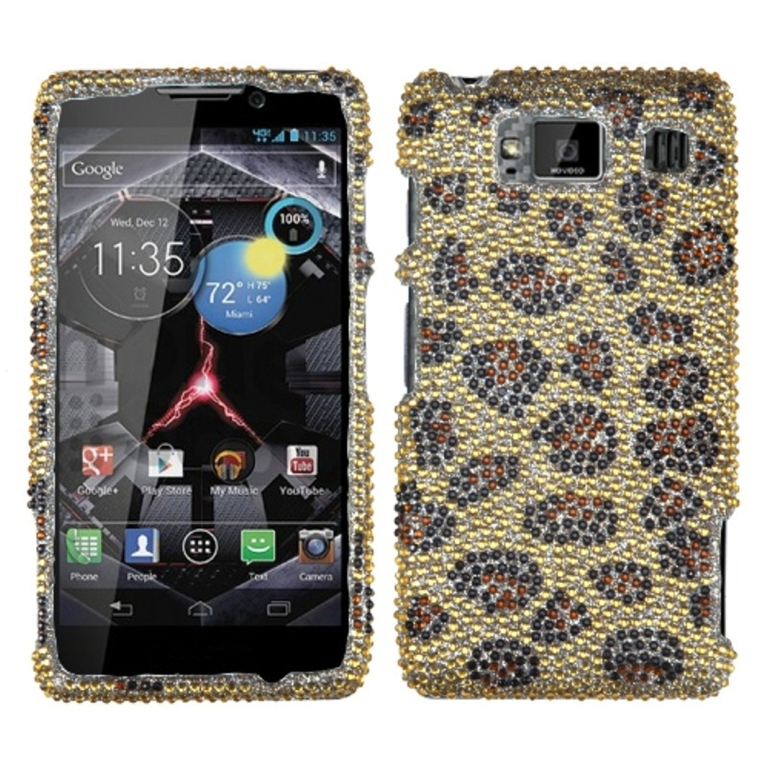 Insten Leopard Skin/Camel Diamante Case for MOTOROLA: XT926W (Droid Razr HD)