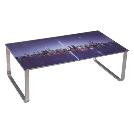 U.S. Pride Furniture Scenery Pattern Coffee Table - City Lights/Purple - City Table