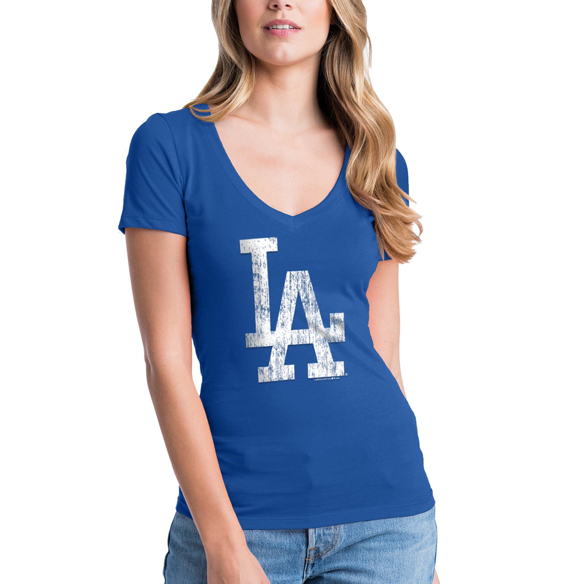 Los Angeles Dodgers New Era Women's V-Neck T-Shirt - Royal