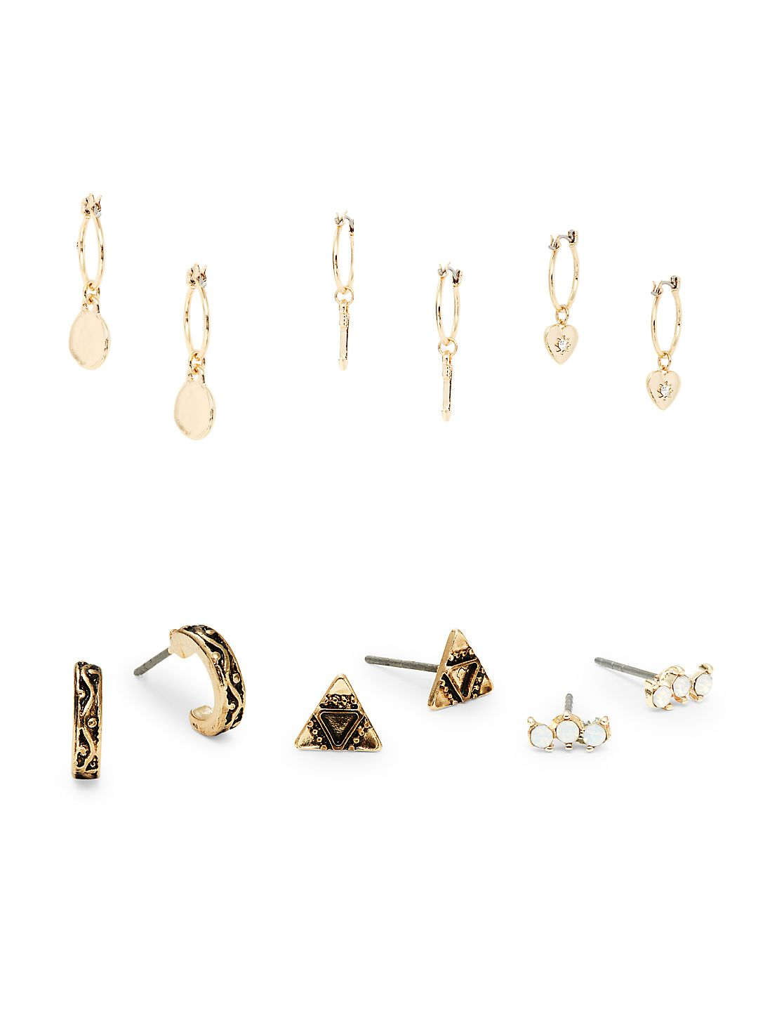 Set of Six Crystal Drop and Stud Earrings