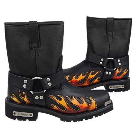 Xelement 1490 Mens Black Harness Motorcycle Boots with Flame ()