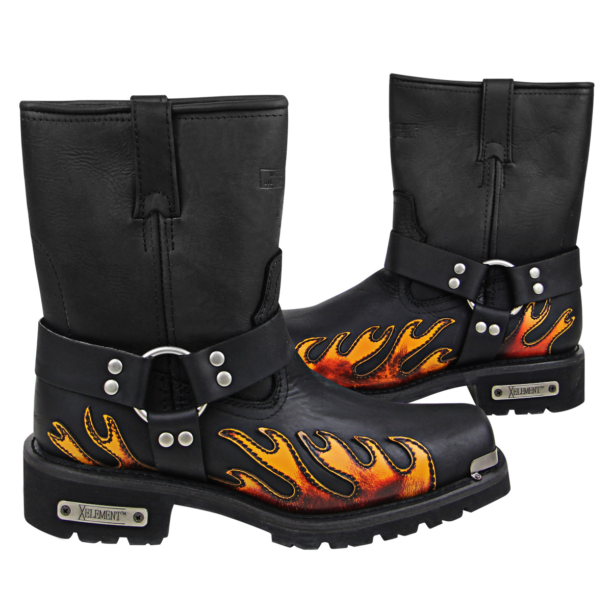 Xelement 1490 Mens Black Harness Motorcycle Boots with Flame
