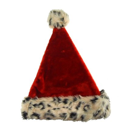 New Fur Felt - Red Felt Santa Hat With Leopard Fur Trim, 17-Inch