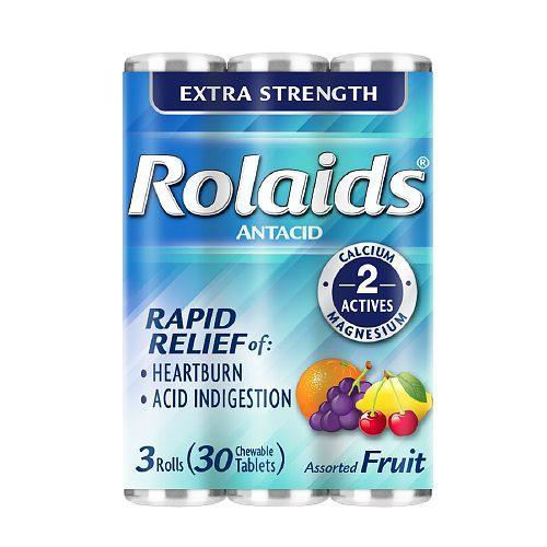 Rolaids Extra Strength Antacid Chewable Tabs, Assorted Fruit 10 X 3Pk, 6 Pack