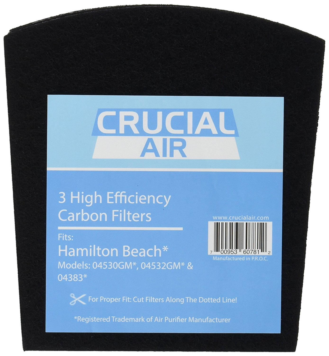 3 Replacement Carbon Filters for Hamilton Beach True Air Odors 04530GM 04532GM 04383 04531GM 04530F 04532GM 04251 04271 04530 04530F Part 04294 By Crucial Air