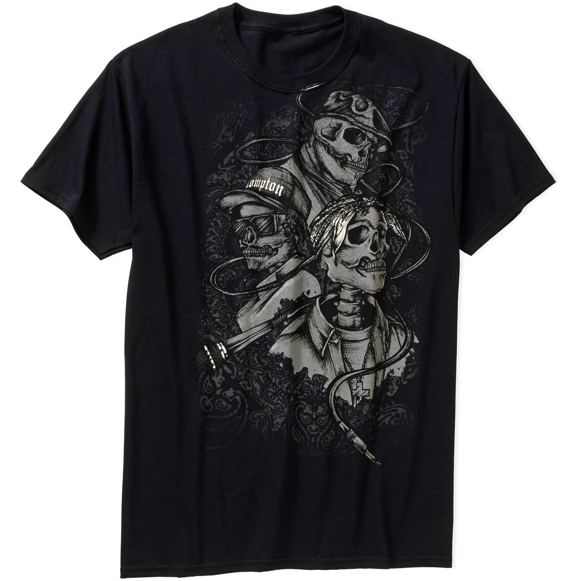 Skulls 3 Heads Classic Big and Tall T Shirt  Black Pro Club Street Wear Tee