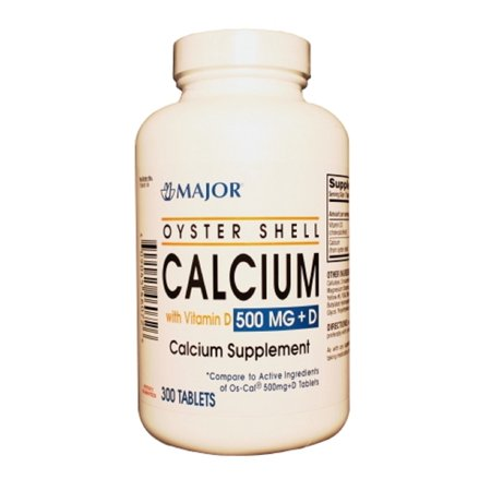 Major Oyster Shell Calcium with Vitamin D Calcium Supplement Tablets, Green, 300 Count