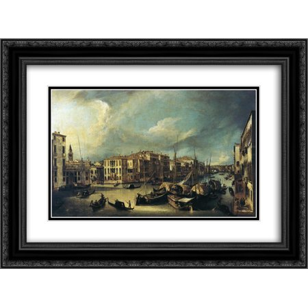 Canaletto 2x Matted 24x18 Black Ornate Framed Art Print 'Grand Canal Looking Northeast from near the Palazzo Corner Spinelli to the Rialto Bridge'