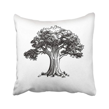 ARTJIA Black Engraved Vintage Tree White Oak Sketch Modern Trunk Grass Ancient Antique Pillowcase Pillow Cushion Cover 16x16 inches