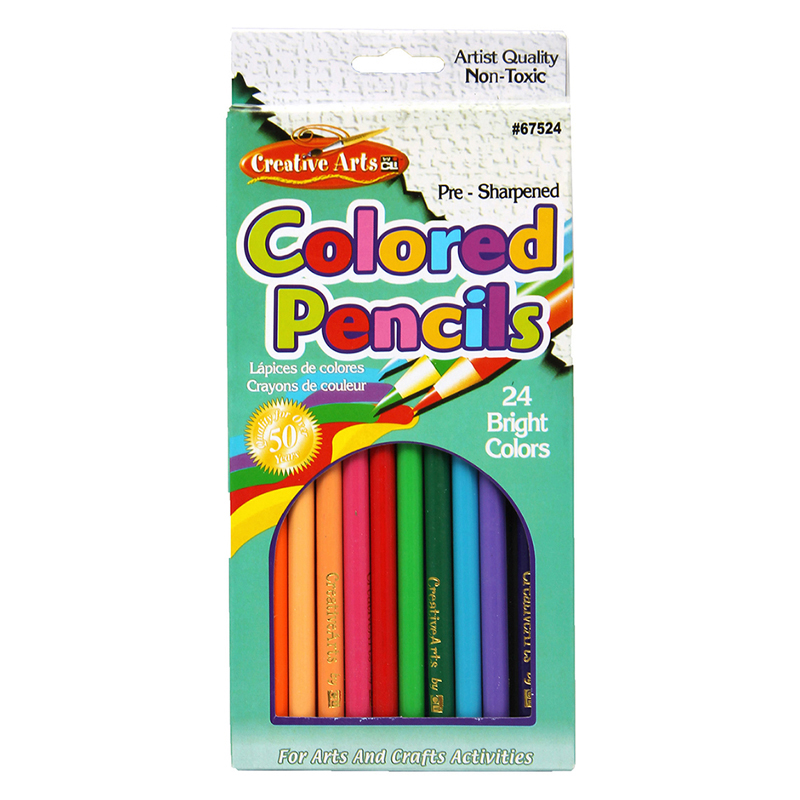 PRESHARPENED 7 INCH COLORED PENCILS 24 PER SET