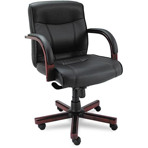 Alera Madaris Mid-Back Swivel Tilt Leather Chair w Wood Trim, Black Mahogany by ALERA