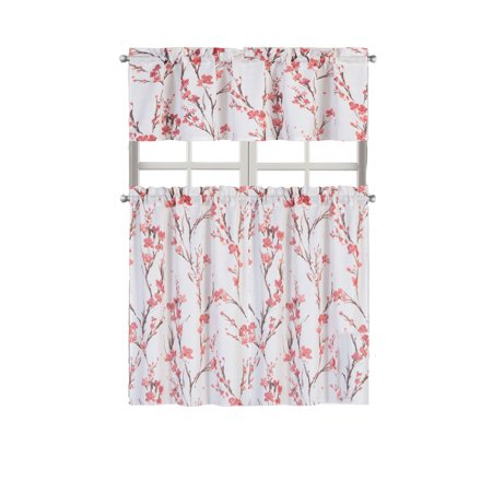 - Regal Home Collections Misaki Complete Kitchen Curtain Tier & Valance Set - Berry