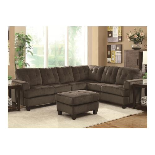 Coaster 500717 Hurley Sectional Sofa With Attached Foam Seats And Removable  Back Cushions Textured Padded Velvet