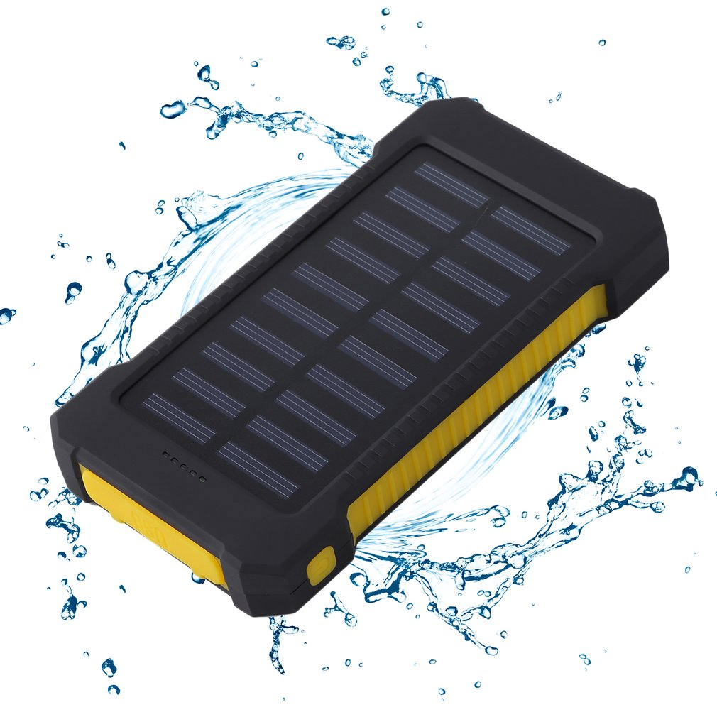 300000mAh Double USB Ultra Portable External Solar Battery Charger Solar Power Bank for Mobile Cell Phone iPhone,yellow by
