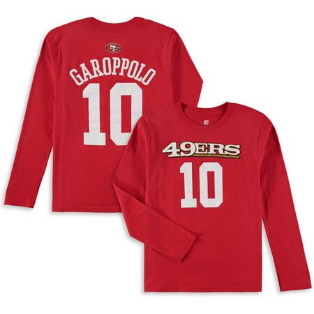 best website 83edd 8716c Jimmy Garoppolo San Francisco 49ers Youth Mainliner Name & Number Long  Sleeve T-Shirt - Scarlet - Walmart.com